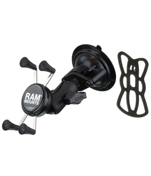 RAM Mounts® Twist-Lock™ Suction Cup with Short Double Socket Arm and Universal X-Grip® Cell/iPhone Cradle
