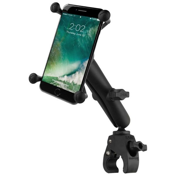 Small Tough-Claw™ Base with Long Double Socket Arm and Universal X-Grip® Large Phone/Phablet Cradle
