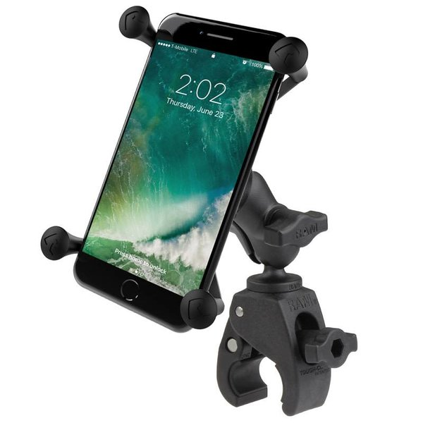 Small Tough-Claw™ Base with Short Double Socket Arm and Universal X-Grip® Large Phone/Phablet Cradle