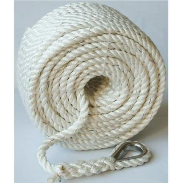 "Nylon Anchor Line 1/2"" 200ft With Eye Splice & Thimble"