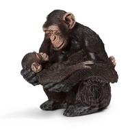 Schleich Schleich Chimpanzee, female with baby RETIRED