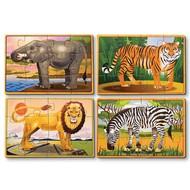 Melissa & Doug Melissa & Doug Wild Animals Wooden Jigsaw Puzzles 4 - 12pcs in a Box_
