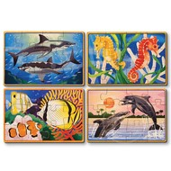 Melissa & Doug Melissa & Doug Sea Life Wooden Jigsaw Puzzles 4 - 12pcs in a Box_