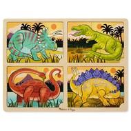 Melissa & Doug Melissa & Doug Wooden 4-in-1 Dinosaur Tray Puzzle 16pcs_