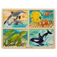 Melissa & Doug Melissa & Doug Wooden 4-in-1 Sea Life Tray Puzzle 16pcs_