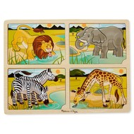 Melissa & Doug Melissa & Doug Wooden 4-in-1 Safari Tray Puzzle 16pcs_