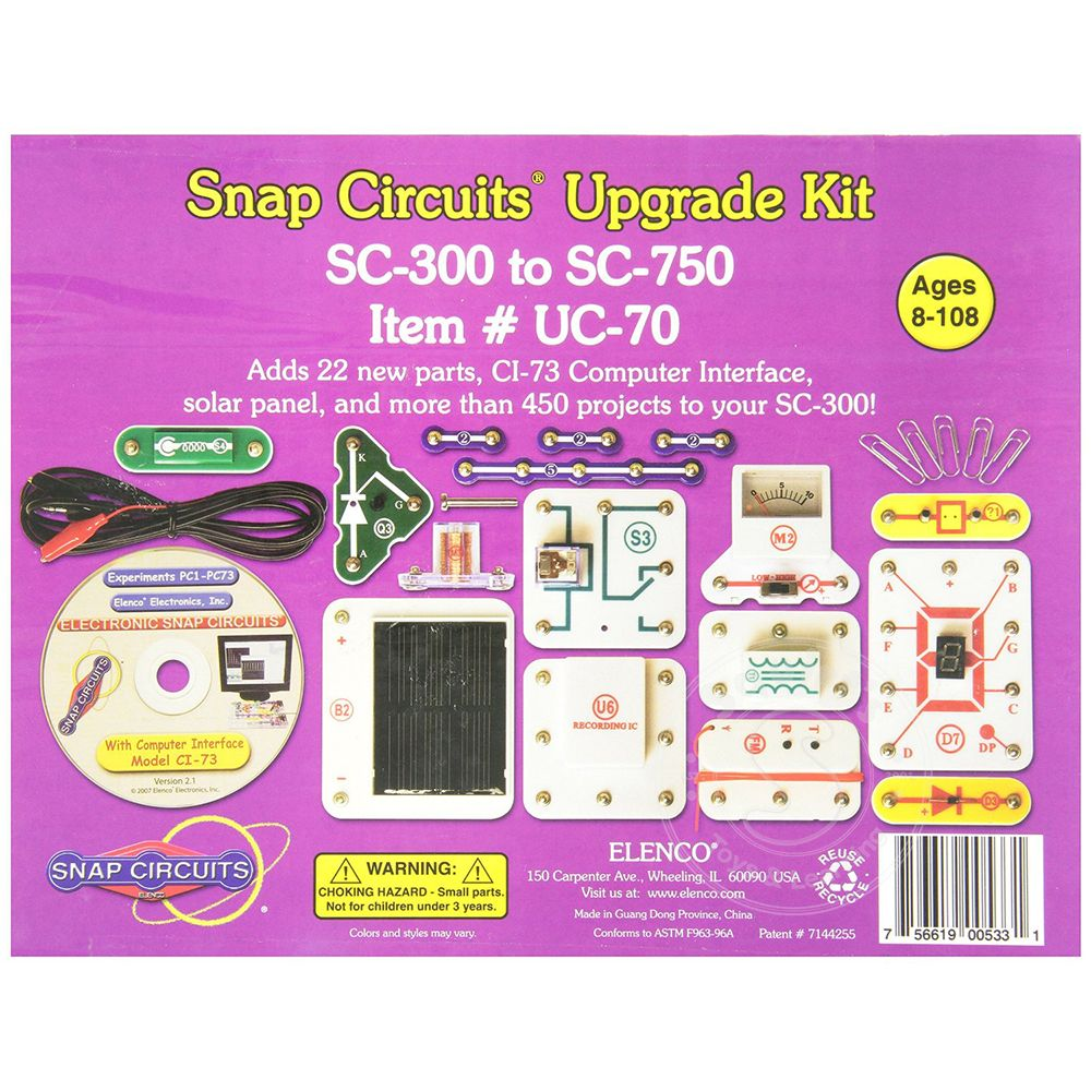 Elenco Snap Circuits Upgrade Kit Sc 300 To 750 Squirts Toys Electronic Circuit