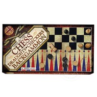 House of Marbles 3 in 1 Chess, Draughts and Backgammon Set