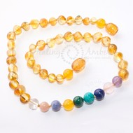 "Healing Amber Healing Amber 20"" Necklace Gold Amber & Gemstone Medley"