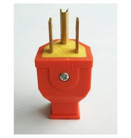 Grounded 3 Wire Male Plug - Orange