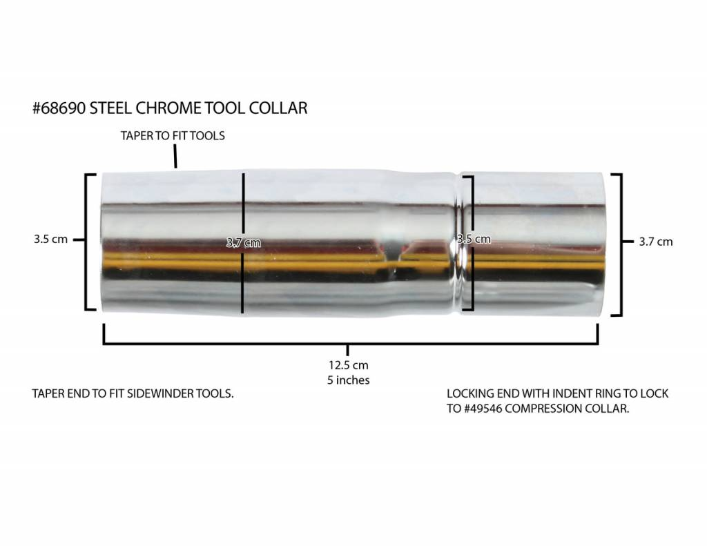"Centec Centec 5"" Chrome Steel Collar 3.5cm to 3.7cm"