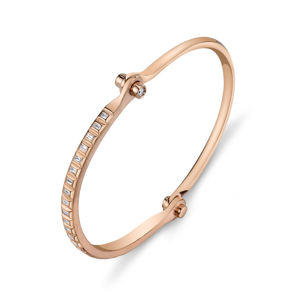 18K Rose Gold Baguette  Diamond Handcuff<br />