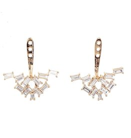 Ear Jackets 18K Yellow Gold Diamond Baguette Cluster Ear Jackets1.03cts. baguettes