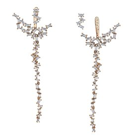Ear Jackets 18K Rose Gold Diamond Baguette Chandelier Ear Jackets2.05cts. baguettes