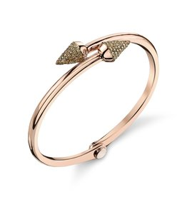 Handcuffs 18K Rose Gold, Pave Brown Diamond Small Spike Handcuff1.02cts brown diamonds