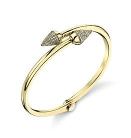 Handcuffs 18K Yellow Gold, Pave White Diamond Small Spike Handcuff1.02cts white diamonds