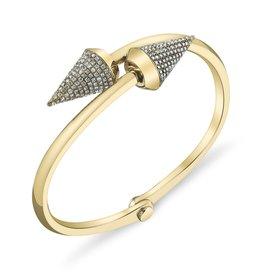 Handcuffs 18K Yellow Gold, Pave White Diamond Large Spike Handcuff3.20cts white diamonds