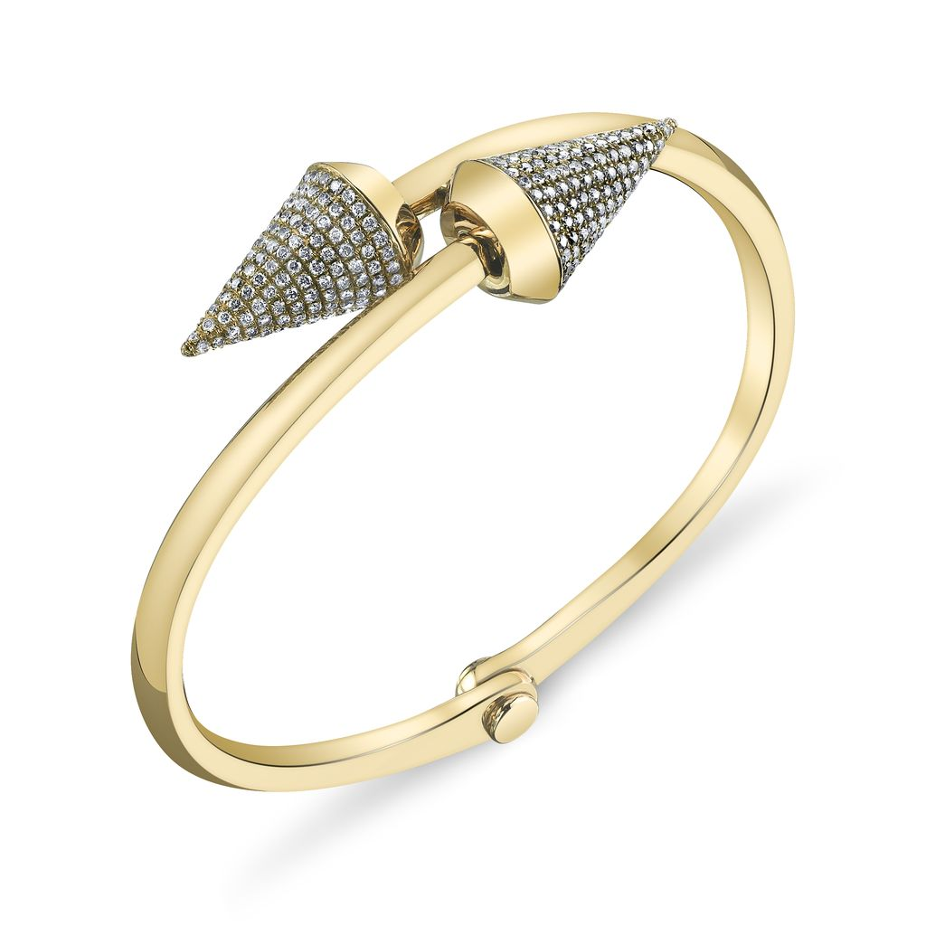 18K Yellow Gold, Pave White Diamond Large Spike Handcuff<br />