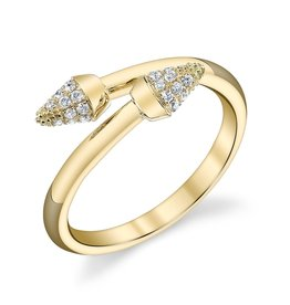 Band 18K Yellow Gold, Pave White Diamond Spike Band.21cts white diamonds