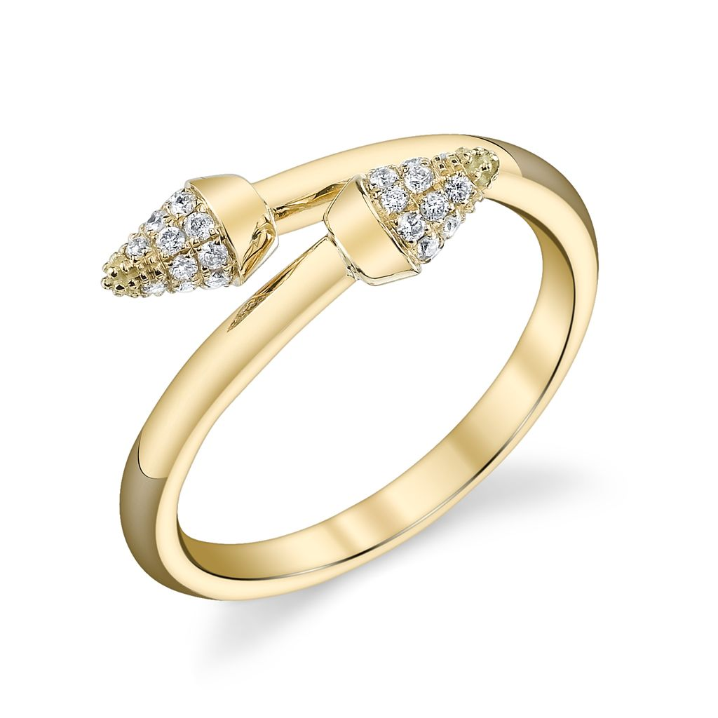 18K Yellow Gold, Pave White Diamond Spike Band<br />.21cts white diamonds