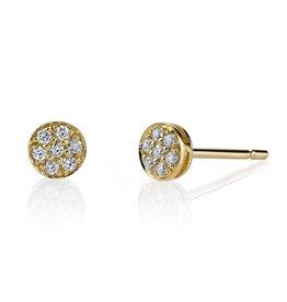 Earrings 18K Yellow Gold, Small Pave Diamond Rose Cut Studs.18cts diamonds