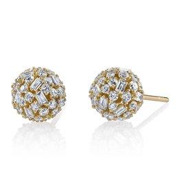 Stud Earring 18K Yellow Gold Pave Mixed  Cut Diamond Ball Studs2.54cts diamonds