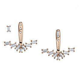 Ear Jackets 18K Rose Gold Single Row Diamond Baguette Ear Jackets.52cts. baguettes