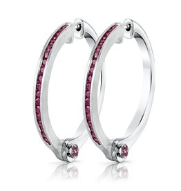 Earrings 18K White Gold, Pave Pink Sapphire Handcuff Hoop Earrings1.08cts pink sapphire