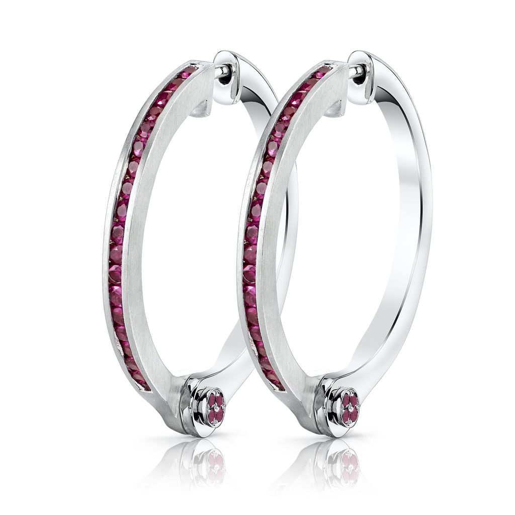 18K White Gold, Pave Pink Sapphire Handcuff Hoop Earrings<br />1.08cts pink sapphire