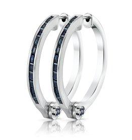 Earrings 18K White Gold Blue Sapphire Baguette Handcuff Hoop Earrings1.66cts blue sapphire