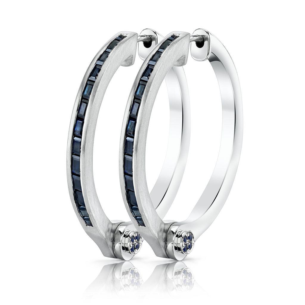 18K White Gold Blue Sapphire Baguette Handcuff Hoop Earrings<br />1.66cts blue sapphire