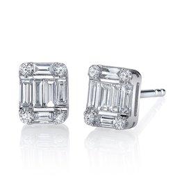 Stud Earring 18K White Gold, Diamond Baguette Single Stud Earrings.39cts diamond baguette