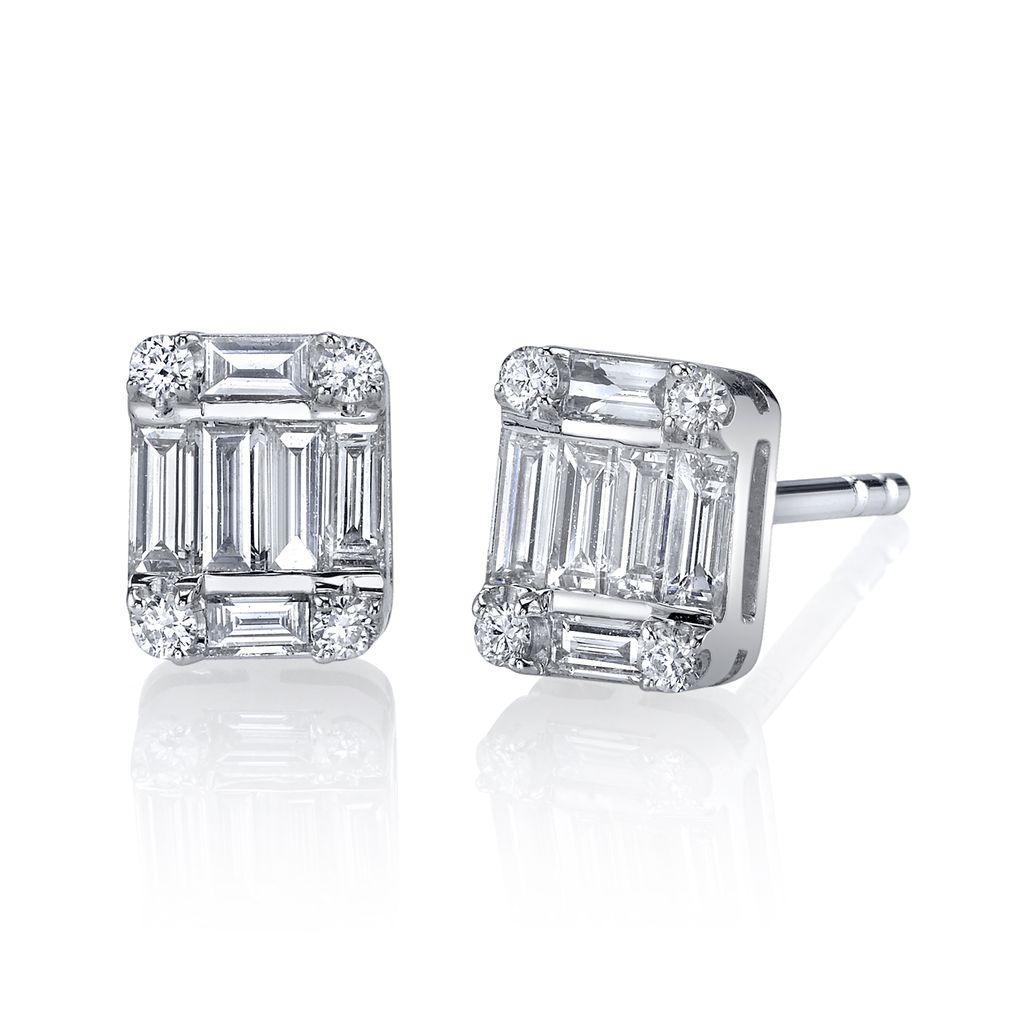 stud single baguette earrings image diamond earring white studs gold