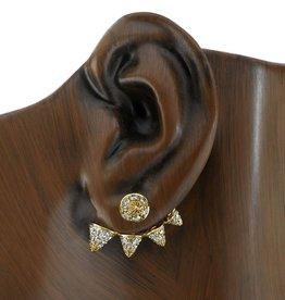 Stud & Earjacket 18K Yellow Gold, Pave Diamond Spike Stud & Earjacket.64cts diamonds