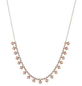 Choker 18K Rose Gold Pave Diamond Pyramid Choker2.60cts diamonds
