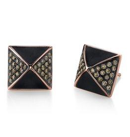 Earrings 18K Rose & Black Rhodium Gold, Pave Brown Diamond Ebony Wood Pyramid Stud Earrings.61 cts. brown diamonds