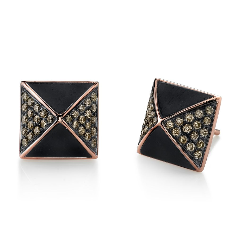 rhodium ebony stud gold diamond pave brown studs cts earrings black pyramid wood image rose diamonds