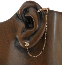 Earcuff 18K Rose Gold, Brown Diamond Pyramid Chain Earcuff.72cts brown diamonds