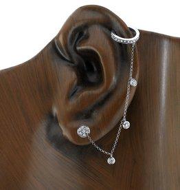 Earcuff 18K White Gold, Rosecut  Diamond  Chain Earcuff.62cts diamonds