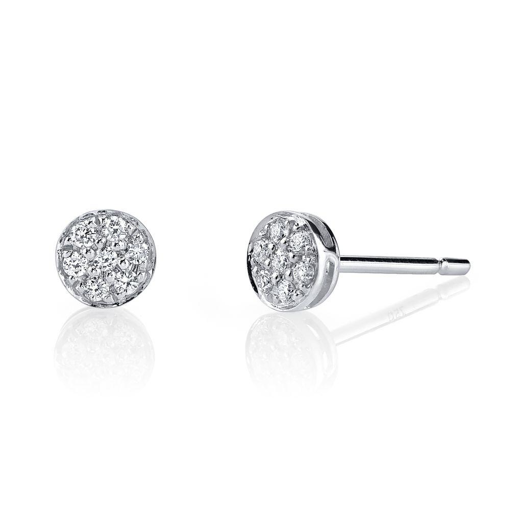 18K White Gold, Small Pave Diamond Rose Cut Studs<br />.18cts. diamonds