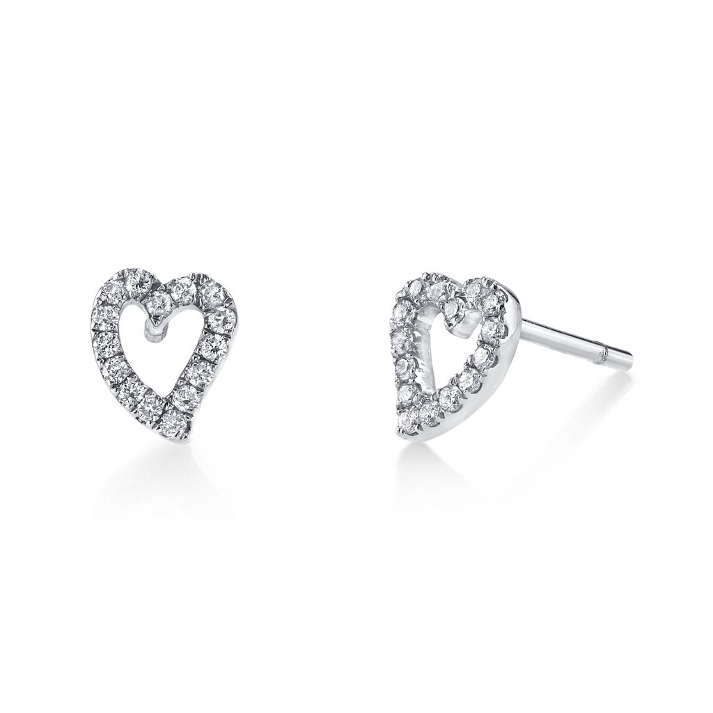 18K White Gold, Small Pave Diamond Heart Studs<br />.28cts diamonds