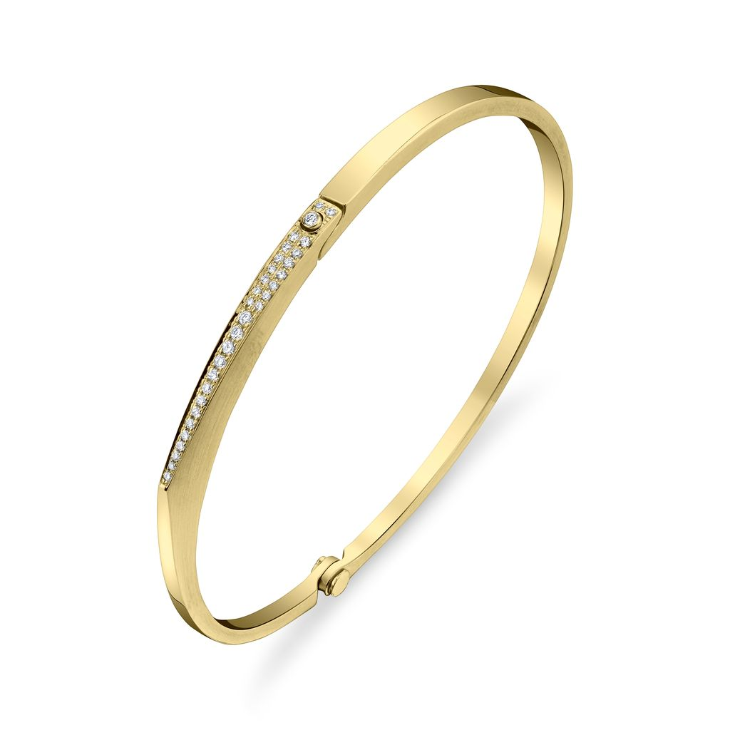 18K Yellow Gold, Pave Diamond Skinny &quot;V&quot; Cuff<br />