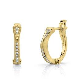 "Huggies 18K Yellow Gold Diamond ""V"" Huggies.15cta diamonds"
