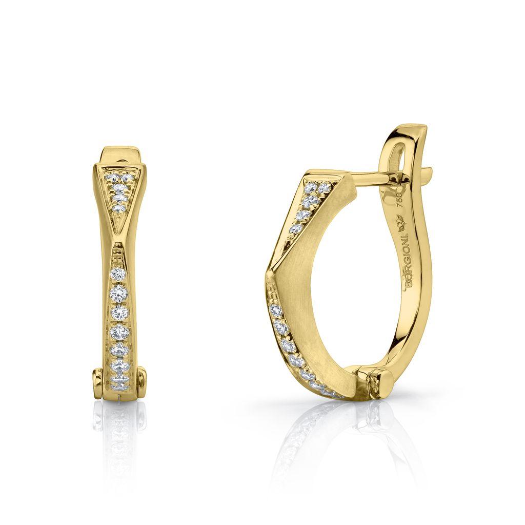 18K Yellow Gold Diamond &quot;V&quot; Huggies<br />.15cta diamonds