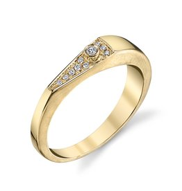 "Band 18K Yellow Gold, Pave Diamond ""V"" Band.06cts diamonds"