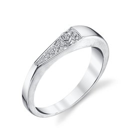 "Band 18K White Gold, Pave Diamond ""V"" Band.06cts diamonds"