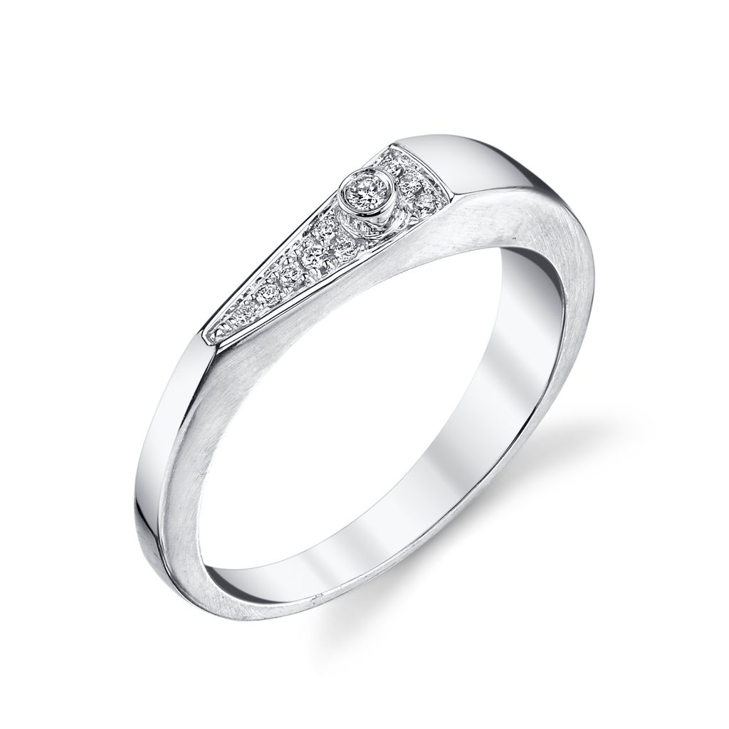 18K White Gold, Pave Diamond &quot;V&quot; Band<br />