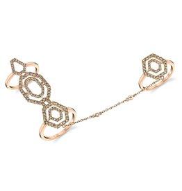 Bondage & Knuckle Ring 18K Rose Gold Diamond Hexagon Bondage & Knuckle Ring1.97cts  brown diamonds