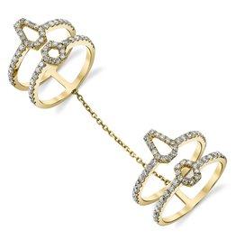 Chain Ring 18k Yellow Gold Diamond Hexagon Double Chain Ring1.52cts diamonds