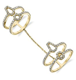 Diamond Hex Double Chain Ring